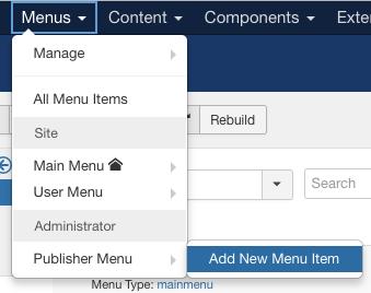 创建新的Joomla管理员菜单链接