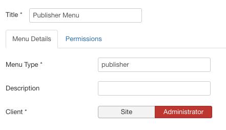 在Joomla创建管理菜单